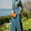 Armine Giyim Mavi&Yeşil Kemerli Kot Pardesü