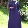 Melek Aydın İndigo Kolu Büzgülü Elbise