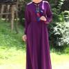 Melek Aydın Mürdüm Kolu Büzgülü Elbise