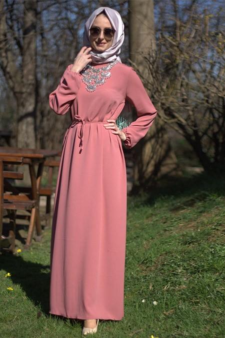 Melek Aydın Pudra Kemerli Elbise