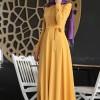 Nurkombin Hardal Petek İşlemeli Elbise