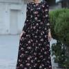 Selma Sarı Design Siyah Pembe Gonca Elbise