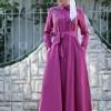 Selma Sarı Design Fuşya Nakış İşlemeli Ebru Elbise