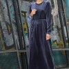 İnşirah Antrasit Kadife Elbise
