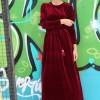 İnşirah Bordo Kadife Elbise