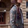 Kayra Gri Bomber Yaka Çiçek Desenli Ceket