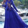Muslima Wear Saks Mavi Pamuklu Elbise