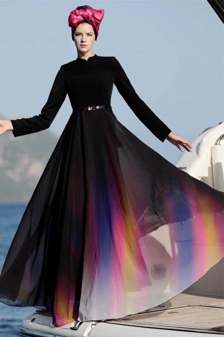 Selma Sarı Design Siyah Gökkuşağı Elbise