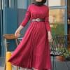 CLSEMA Kırmızı Piliseli Elbise