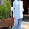 Zehrace Buz Mavi Ekru Tunik&Pantolon İkili Takım