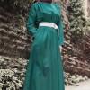 Kefta Yeşil Büzgülü Elbise