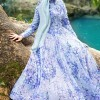Muslima Wear Mavi Ortensia Abiye Elbise