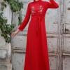 Selma Sarı Design Kırmızı Nakışlı Elbise