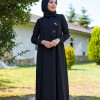 Pastela Siyah Kurdela ve Boyunluklu Elbise