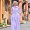 Feyzan Design Pudra Kareli Kemerli Elbise