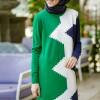 İnşirah Yeşil Desenli Triko Tunik