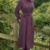 Ayşen Özen Mürdüm Kazayağı Desenli Elbise
