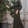 Selma Sarı Design Haki Fırfır Dantel Detaylı Elbise
