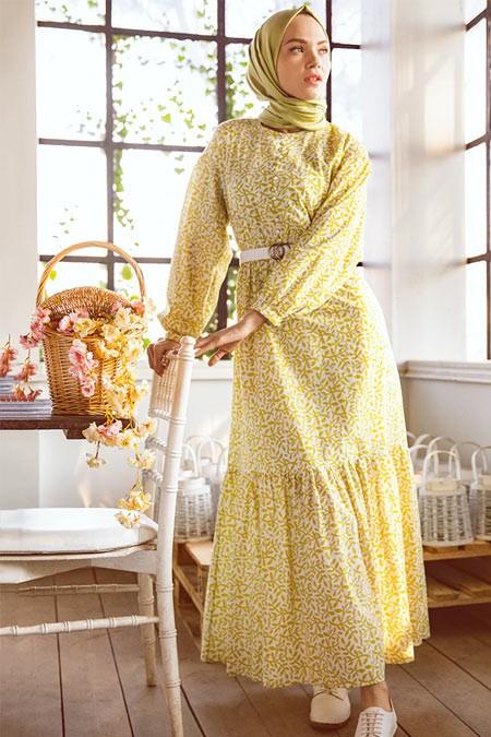 Benin Safran Doğal Kumaşlı Desenli Elbise