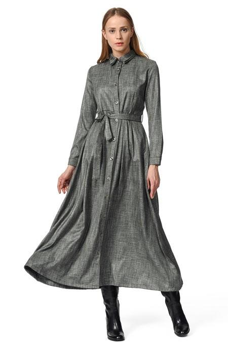 Mizalle Beli Kuşak Detaylı Elbise