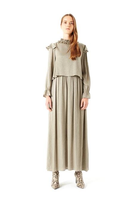 Mizalle Volan Omuz Detaylı Elbise