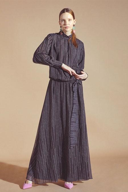 Latifa Siyah Gipeli Elbise