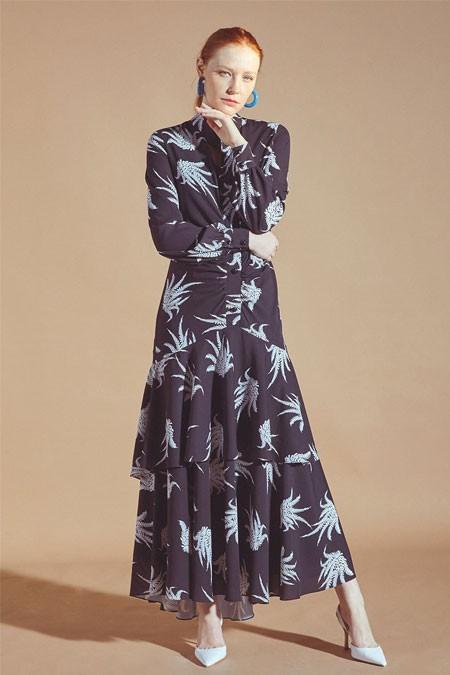Latifa Siyah Volanlı Elbise