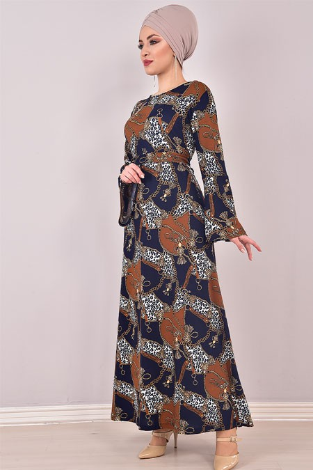 Modamerve Zincir Kemerli Valon Kol Elbise