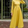 Sazze Design Sari Tesettür Elbise