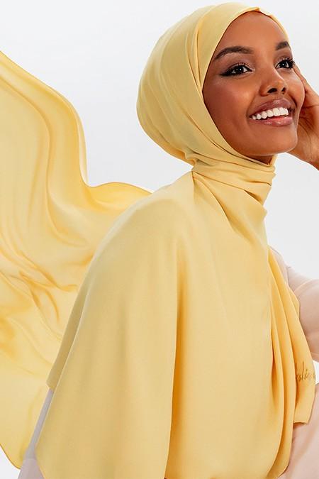 Halima X Modanisa Sarı Aden Krep Şal
