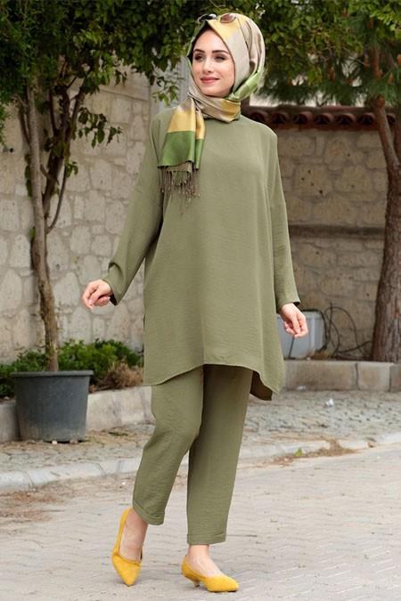 Gamze Özkul Haki Liya Tunik & Pantolon İkili Takım