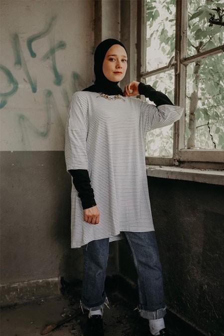 NAKKA Siyah Çizgili Elbise