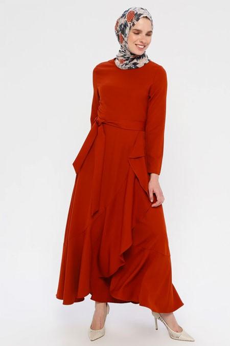 Panaline Kiremit Volanlı Elbise