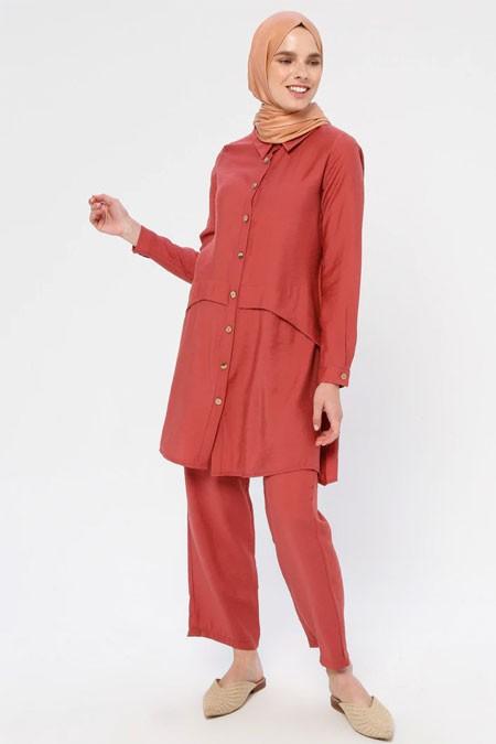 Panaline Nar Çiçeği Düğmeli Tunik & Pantolon İkili Takım
