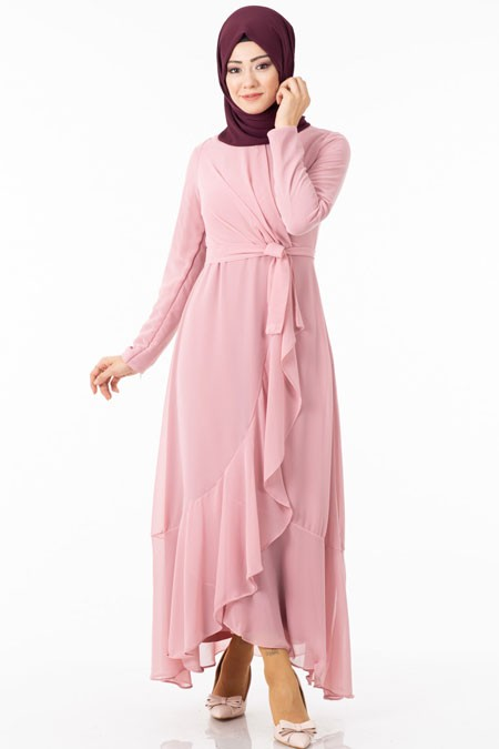 Pembe Şifonlu Çapraz Fırfırlı Tesettür Elbise