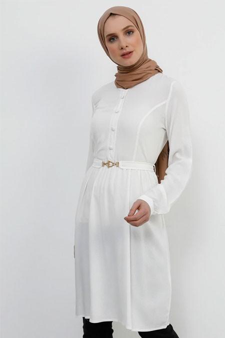 Refka Beyaz Doğal Kumaşlı Kemerli Tunik