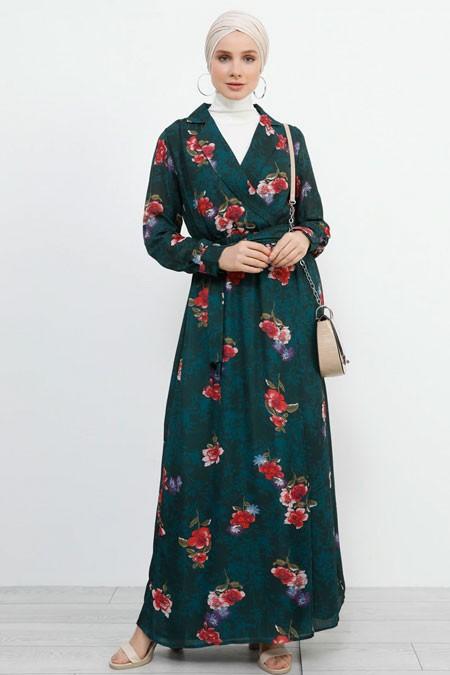 Refka Çimen Yeşili Kruvaze Yaka Çiçekli Elbise