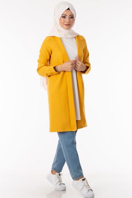 Sarı Pervazlı Uzun Ceket