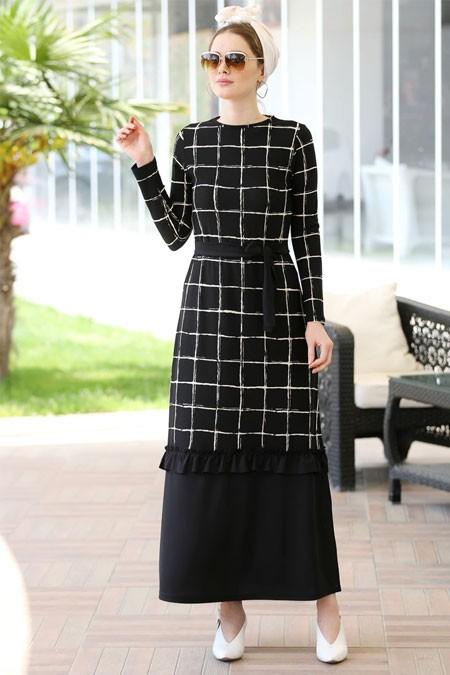Selma Sarı Design Siyah Çizgili Fırfır Detaylı Rahat Elbise