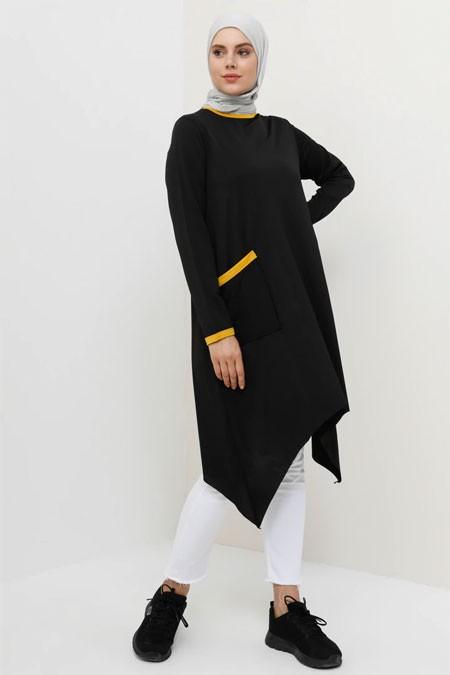 Tavin Safran Siyah Cep Detaylı Asimetrik Kesim Tunik