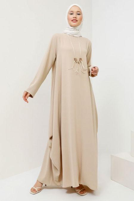 Benin Bej Kolyeli Salaş Elbise