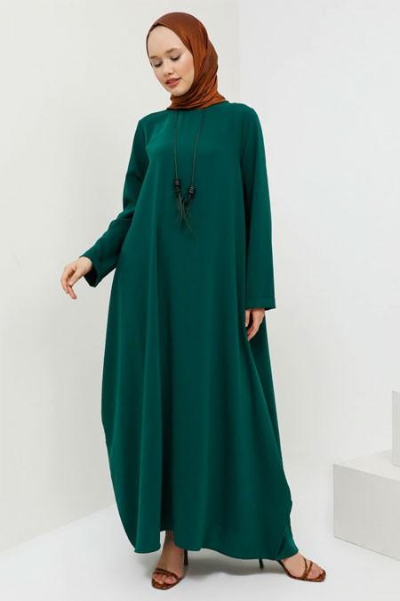 Benin Yeşil Kolyeli Salaş Elbise