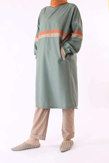 He-Qa Yeşil Şeritli Tunik