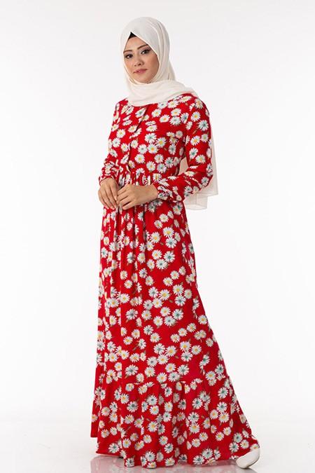 Kırmızı Papatya Desen Elbise