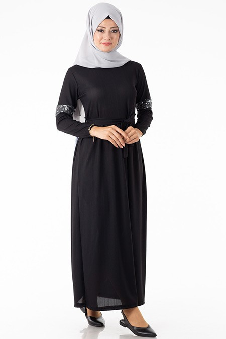 Kolu Payetli Siyah Elbise