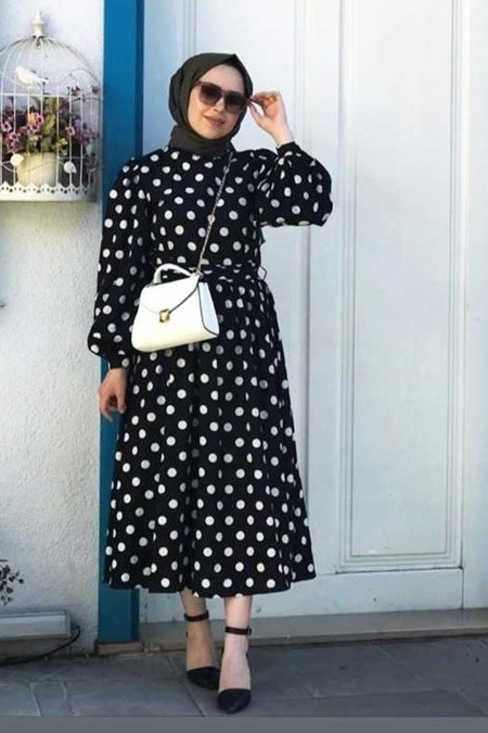 Moda Bahar Lacivert Puantiyeli Elbise