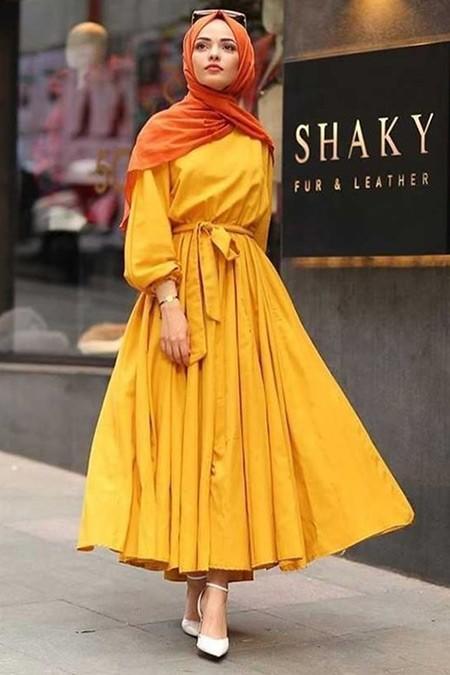 Moda Bahar Sarı Fırfırlı Elbise