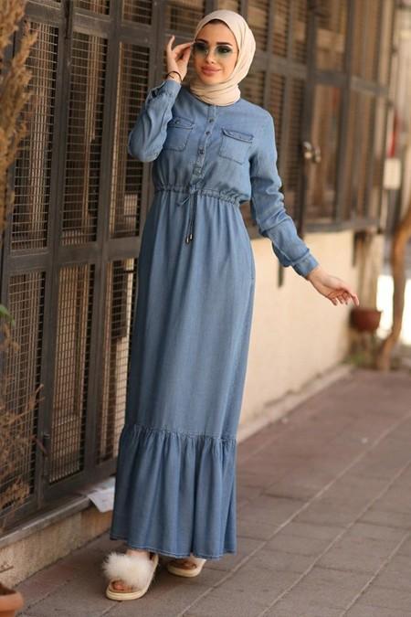 Neways Mavi Uzun Kot Elbise