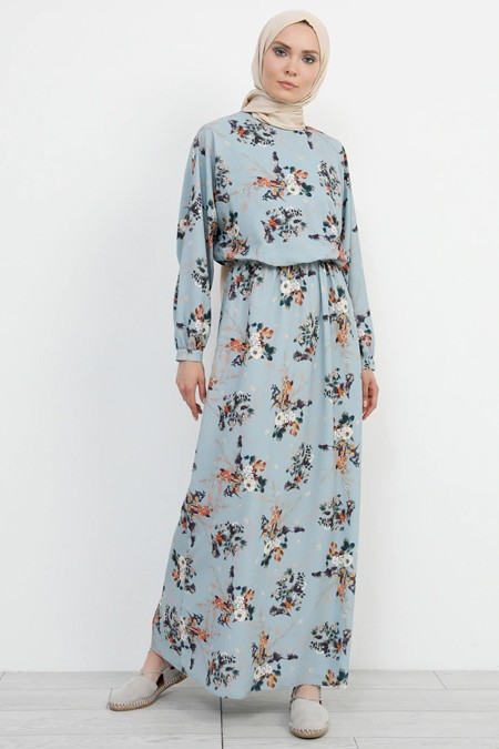 Refka Çiçek Desenli Mavi Elbise