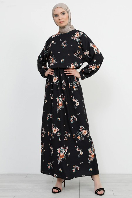 Refka Çiçek Desenli Siyah Elbise